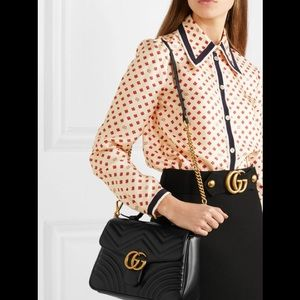 New Gucci Marmont Top Handle Quilted Leather Bag